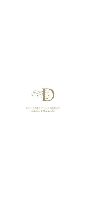 CARTA DE VINOS & QUESOS CHEESE & WINE LIST - Palacio Duhau