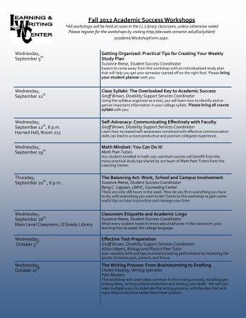 Fall 2012 Academic Success Workshops