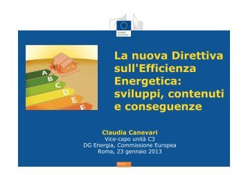 La nuova Direttiva sull'Efficienza Energetica: sviluppi ... - Enea