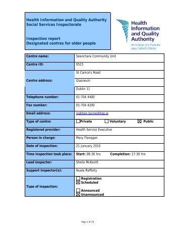 Seanchara Community Unit, 515, nursing home inspection ... - hiqa.ie