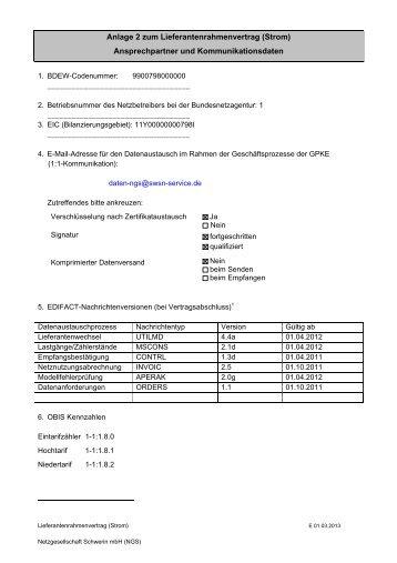 Anlage 2 Kontaktdaten - Stadtwerke Schwerin