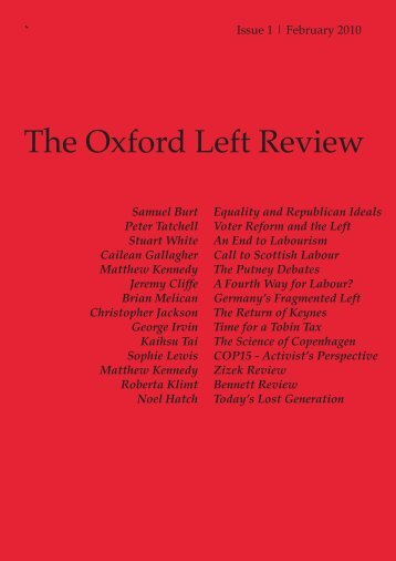 Oxford Left Review 1 - The Oxford Left Review