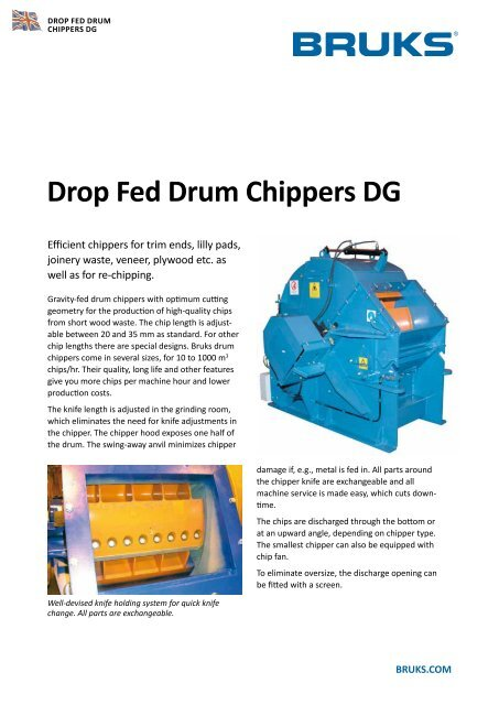 Drop Fed Drum Chippers DG - BRUKS