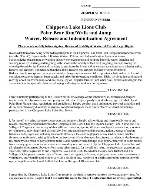 Waiver And Release Form Chippewa Lake Lions