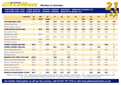 21 Amp 22 Bus Timetable Johnsons Coach Travel