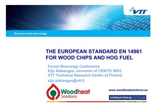 the european standard en 14961 for wood chips - Wood Heat ...