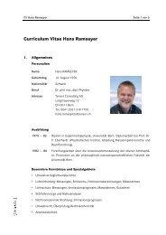 Curriculum Vitae Hans Ramseyer - Tensor Umweltberatung AG