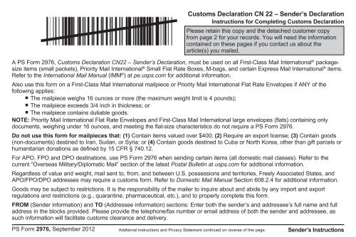 graphic about Ps Form 2976 Printable named Cn22 tailor made declaration sort india write-up
