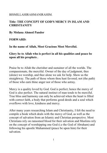 Concept of Gods Mercy in Islam & Christianity - IPCI
