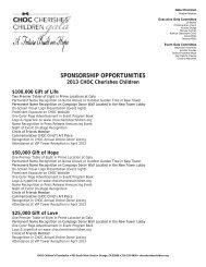Sponsorship opportunities - choc children's