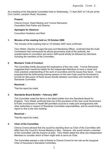 Agenda Item 2 - Meetings, agendas, and minutes