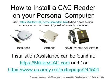 How to Install CAC Reader on your Personal Computer