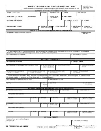Dd Form 1172 2 Application For Identification Card Deers