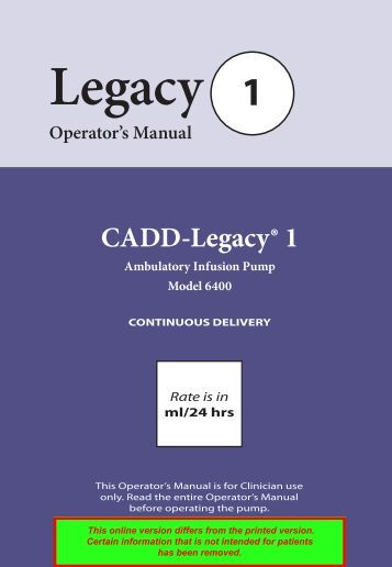 CADD Legacy 1 (6400) User Manual