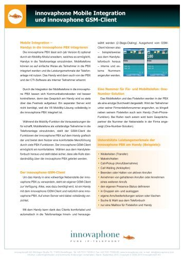 innovaphone Mobile Integration und ... - Telefonbau Schneider AG