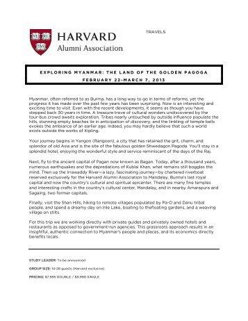 TRAVELS EXPLORING MYANMAR: THE LAND ... - Harvard Alumni