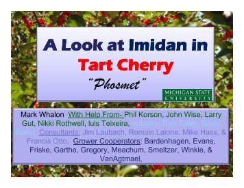 "A Look at Imidan in Tart Cherry ""Phosmet"" - Cherries"