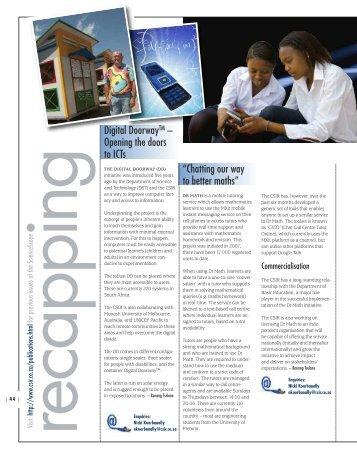 """Digital DoorwayTM – Opening the doors to ICTs """"Chatting ... - CSIR"""