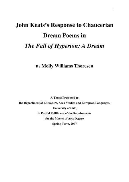 thesis statement on john keats