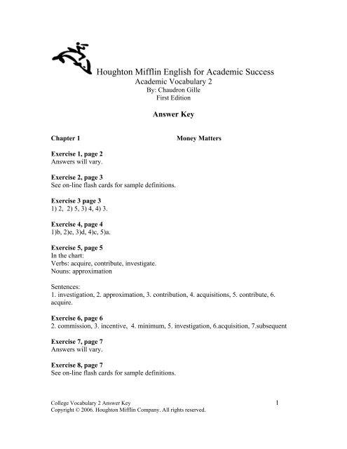 Houghton Mifflin English For Academic Success