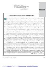 Editorial : La grenouille et le chaudron conventionnel - Revue d ...