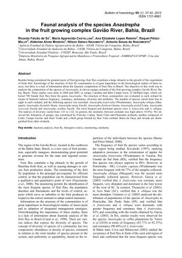 Faunal analysis of the species Anastrepha in the - Bulletin of ...