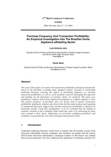 Purchase Frequency And Transaction Profitability: An Empirical ...