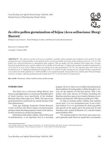 In vitropollen germination of feijoa (Acca sellowiana (Berg) Burret)