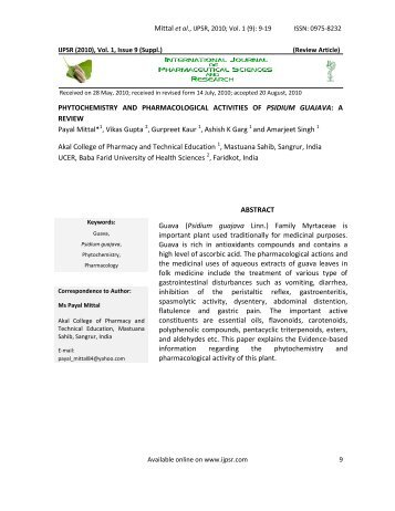 Issue 1, Vol - International Journal of Pharmaceutical Sciences and ...