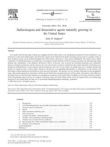 Hallucinogens and dissociative agents naturally ... - DMT-Nexus Wiki