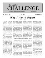 Why I Am A Baptist - The Baptist Challenge