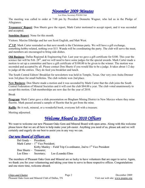 December - Pleasant Oaks Gem and Mineral Club