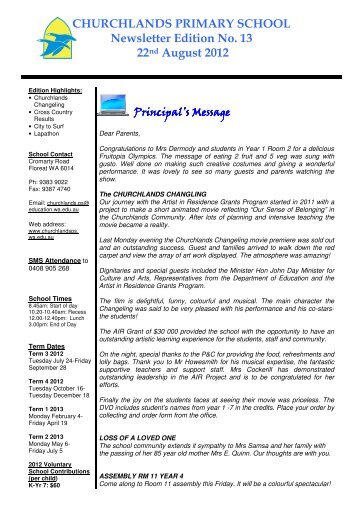 CHURCHLANDS PRIMARY SCHOOL Newsletter Edition No. 13 ...