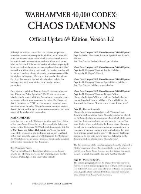 Warhammer 40k Chaos Daemons Codex Pdf