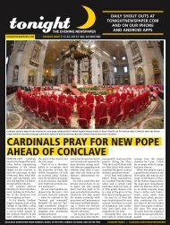 cardinals pray for new pope ahead of conclave - tonight Newspaper