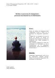 Rythme et processus de changement : processus incrémental ... - Free