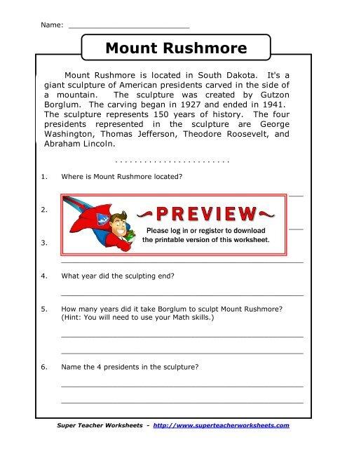 Mount Rushmore - Super Teacher Worksheets