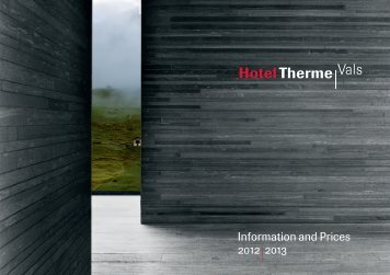 Information and Prices 2012 2013 - Therme Vals