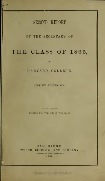 THE CLASS OF 1865,