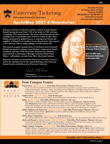 April/May 2007 E-Newsletter - Princeton University