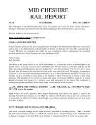 MID CHESHIRE RAIL REPORT - Mid Cheshire Rail Users Association