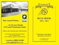 CDFL Handbook 2012-2013 - Chester and District Football League