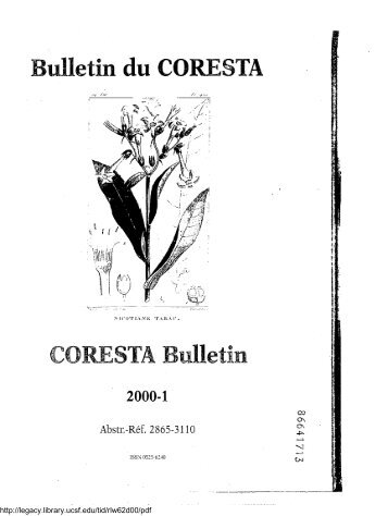 Bulletin du CORESTA - Legacy Tobacco Documents Library