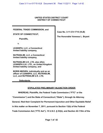 Stipulated Preliminary Injunction Order - Federal Trade Commission