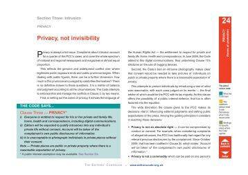 Privacy, not invisibility - Press Complaints Commission