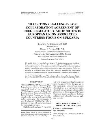 transition challenges for collaboration agreement of drug regulatory ...