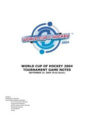 WORLD CUP OF HOCKEY 2004 TOURNAMENT GAME NOTES