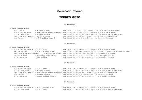 Calendario Veneto.Calendario Ritorno Torneo Misto Aics Veneto