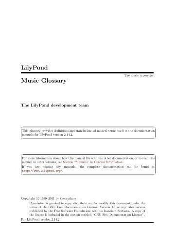 LilyPond Music Glossary