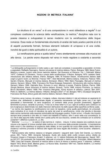 NOZIONI DI METRICA ITALIANA La struttura di un verso1 e di una ...